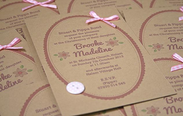 Baby christening invitations pretty floral christening invitation on kraft card stopboris Images