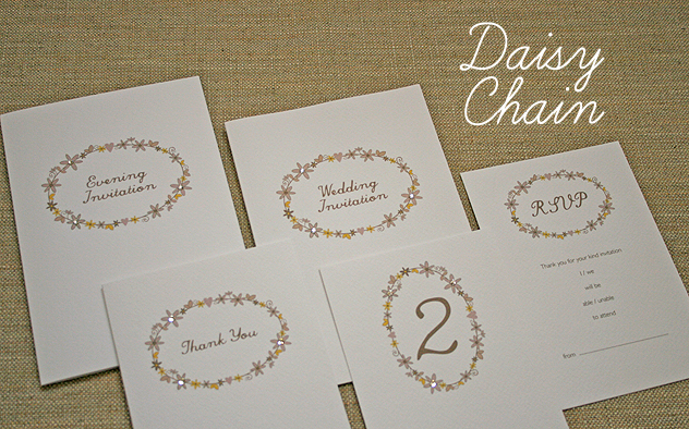 wedding stationery handmade - daisy chain - daisy chain invitation,