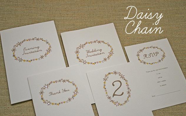 wedding stationery handmade Daisy Chain daisy chain invitation