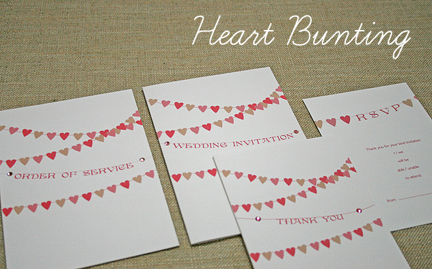 wedding stationery handmade Heart Bunting wedding bunting