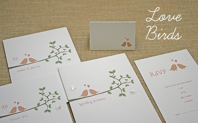 wedding stationery handmade - lovebirds - love birds invitation, Wedding invitations